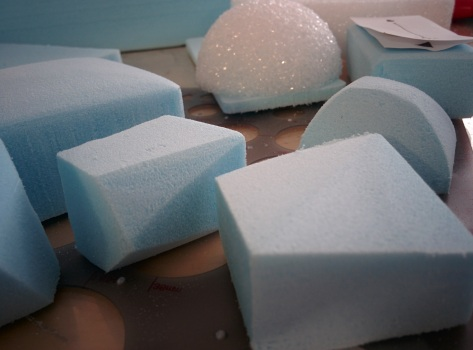 Blue foam models-- early stage prototyping for the hand-sized physical form